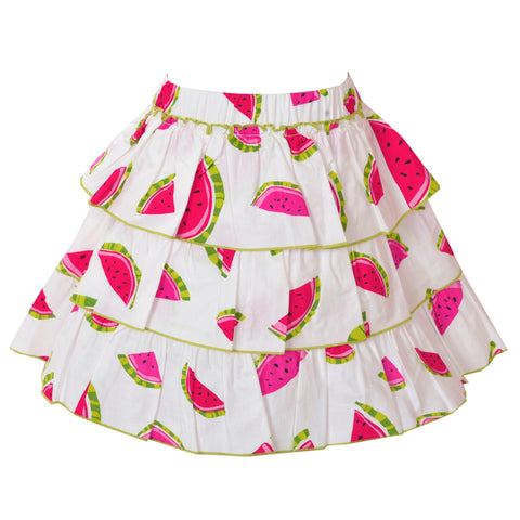 Kids Wear For Girls 100% Cotton 3 Tiered White Printed Short Skirt