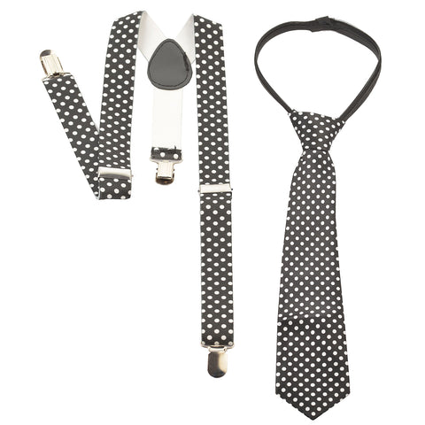 Kids Wear For Boys Suspender Tie Set Stretchable Free Size - StompMarket