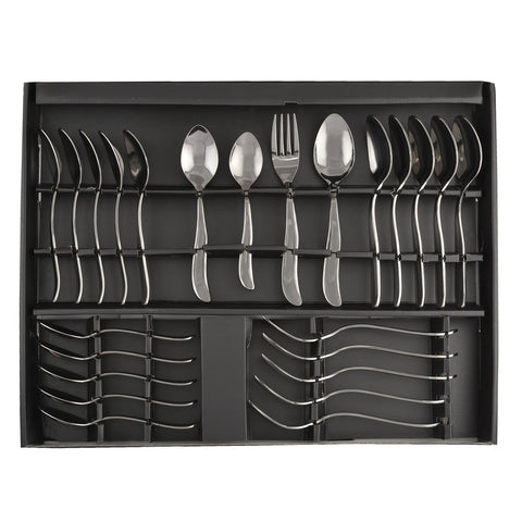 24 Pcs Premium Quality Stainless Steel Cutlery Set For Dinning Table. Ideal For Gifting  - 6 Dessert Spoons, 6 Tea Spoons, 6 Dessert Fork, 6 Baby Spoons