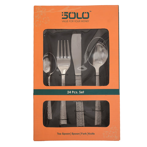 Solo 24 Pcs Premium Quality Stainless steel Cutlery Set for dinning table: Ideal As Diwali Gift, Corporate Gift, Housewarming Gift: 6 Table Knife, 6 Dessert / Table Forks, 6 Table / Dessert Spoons, 6 Tea Spoons - StompMarket