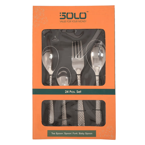 Solo 24 Pcs Premium Quality Stainless steel Cutlery Set for dinning table: Ideal As Diwali Gift, Corporate Gift, Housewarming Gift- 6 Baby Spoons, 6 Dessert / Table Forks, 6 Table / Dessert Spoons, 6 Tea Spoons - StompMarket