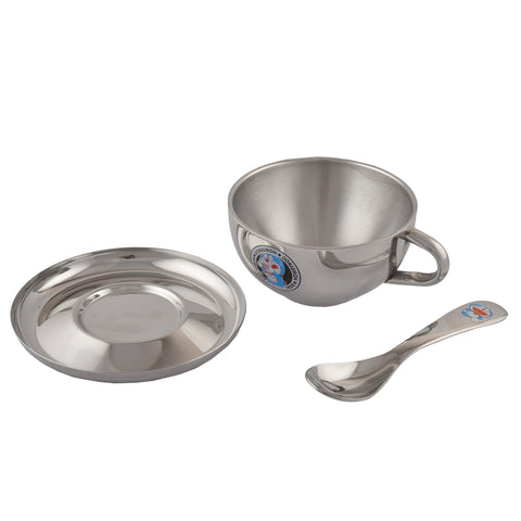 Doraemon Stainless Steel Soup Bowl with Spoon for Kids-1 Soup Bowl, 1 Under Liner, 1 Soup Spoon