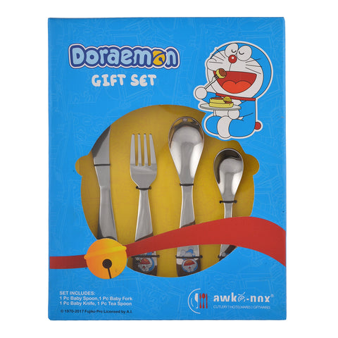 Doraemon Stainless Steel Cutlery Set for Kids- 1 Baby Spoon, 1 Baby Fork, 1 Baby Knife, 1 Tea Spoon.  Free Gift (1 Tooth Brush) - StompMarket
