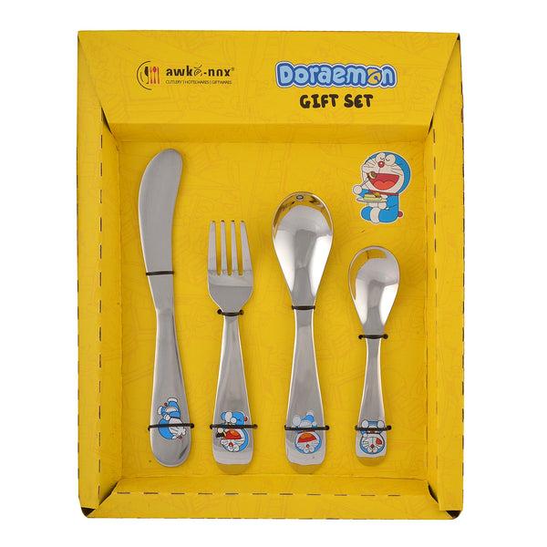 Doraemon Stainless Steel Cutlery Set for Kids- 1 Baby Spoon, 1 Baby Fork, 1 Baby Knife, 1 Tea Spoon.  Free Gift (1 Tooth Brush)