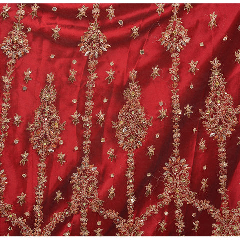 Vintage Hand Beaded Lehenga Skirt Dupatta Set Wedding Zardozi Red - StompMarket