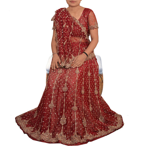 Vintage Hand Beaded Lehenga Choli Skirt Dupatta Set Wedding Zari