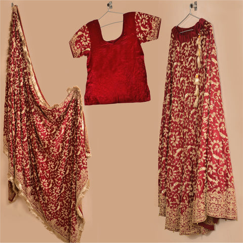Vintage Hand Beaded Lehenga Choli Skirt Dupatta Set Wedding Zardozi - StompMarket