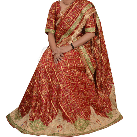 Antique Lehenga Choli Skirt Dupatta Set Vintage Bandhani Traditional Pure Silk - StompMarket