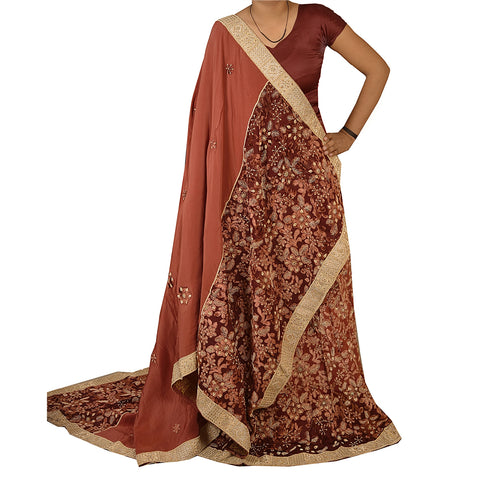 Vintage Unstitched Long Skirt Lehenga Heavy Party Wear Brown Brasso