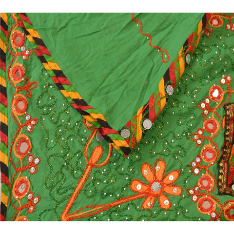 Vintage 6 Years Girl Lehenga Choli Set Kutch Work Hand Embroidered Mirror Green