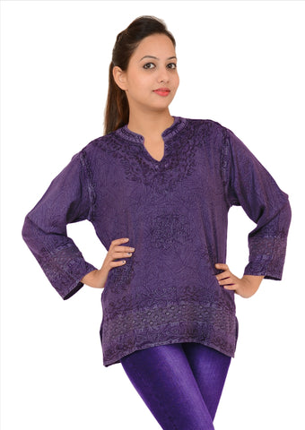 Short Top Tunic For Women, 100% Rayon Embroidered Mandrin Collar
