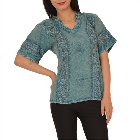 Shirt Top For Women, Stone Wash Rayon Short Sleeves With Embroidery