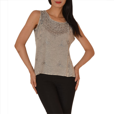 Shirt Top For Women, Stone Wash Rayon Without Sleeves With Embroidery