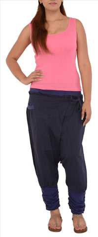 Women's Cotton Afghani / Yoga Pant With Pocket (Blue)