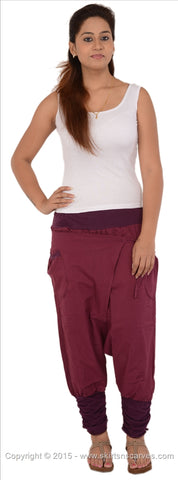 Women's Cotton Afghani / Yoga Pant With Pocket (Purple)