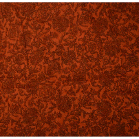 Antique Vintage 100% Pure Silk Saree Orange Printed Sari Craft 5 Yard Fabric - StompMarket