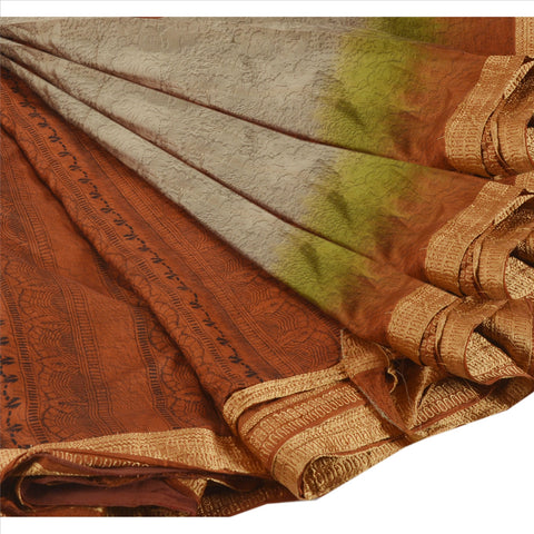 Antique Vintage 100% Pure Silk Saree Orange Printed Sari Craft Fabric 5 Yard - StompMarket