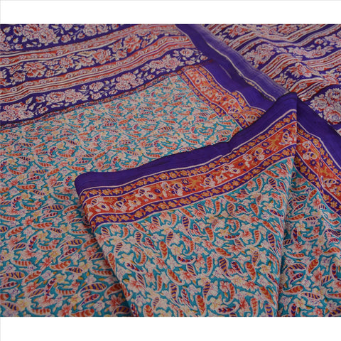 Antique Vintage 100% Pure Silk Saree Purple Printed Sari Craft 5 Yard Fabric