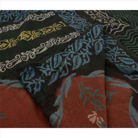 Antique Indian Vintage Printed Saree 100% Pure Cotton Craft Fabric Green Sari