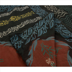 Antique Indian Vintage Printed Saree 100% Pure Cotton Craft Fabric Green Sari - StompMarket