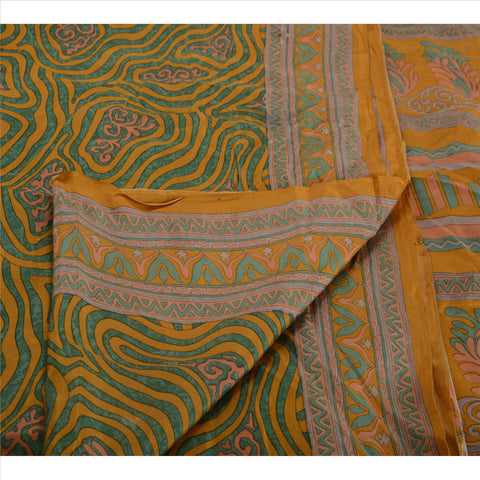 Antique Vintage 100% Pure Silk Saree Saffron Printed Sari Craft 5 Yard Fabric