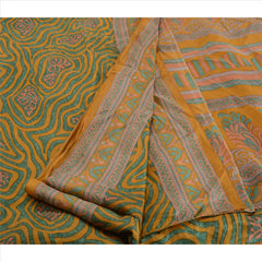 Antique Vintage 100% Pure Silk Saree Saffron Printed Sari Craft 5 Yard Fabric - StompMarket