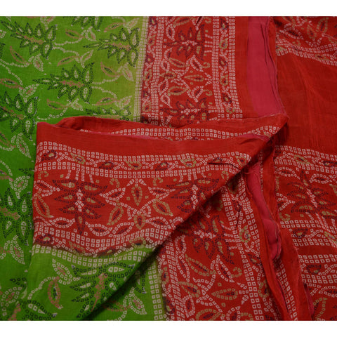 Antique Vintage 100% Pure Silk Saree Green Printed Sari Craft Fabric 5 Yard