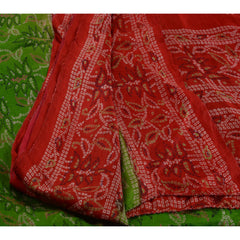 Antique Vintage 100% Pure Silk Saree Green Printed Sari Craft Fabric 5 Yard - StompMarket