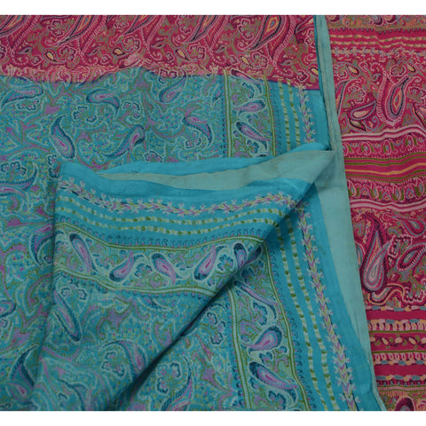 Antique Vintage Paisley Printed Saree 100% Pure Silk Craft Fabric Blue Sari