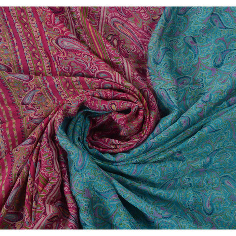 Antique Vintage Paisley Printed Saree 100% Pure Silk Craft Fabric Blue Sari - StompMarket