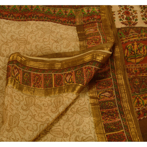 Antique Vintage 100% Pure Silk Zari Border Saree Cream Printed Sari Craft Fabric