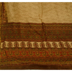 Antique Vintage 100% Pure Silk Zari Border Saree Cream Printed Sari Craft Fabric - StompMarket
