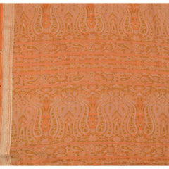 Antique Vintage 100% Pure Silk Saree Peach Printed Sari Craft 5 Yard Fabric - StompMarket