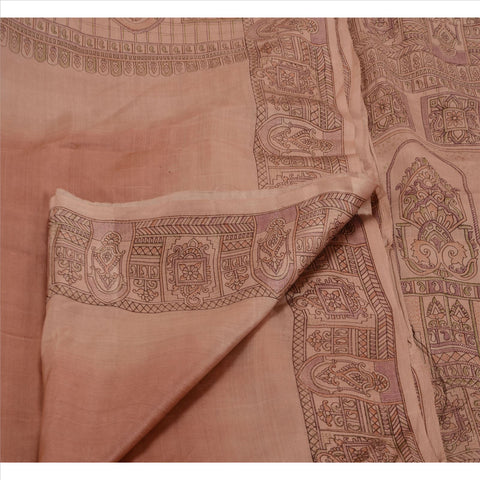 Antique Vintage Paisley Printed Saree 100% Pure Silk Craft Fabric Peach Sari