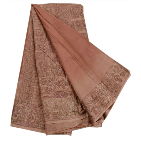 Antique Vintage Paisley Printed Saree 100% Pure Silk Craft Fabric Peach Sari - StompMarket