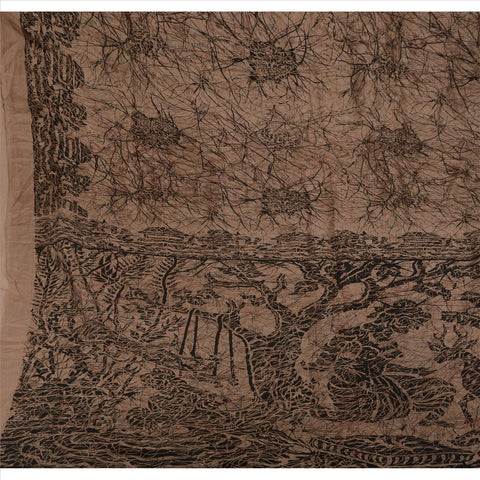 Antique Vintage Indian Printed Saree 100% Pure Silk Craft Fabric Brown Sari - StompMarket