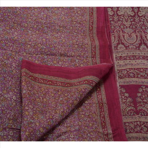 Antique Vintage Indian Printed Saree 100% Pure Silk Craft Fabric Pink Sari