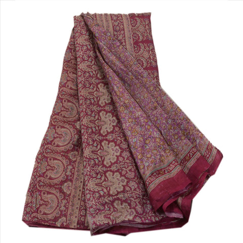 Antique Vintage Indian Printed Saree 100% Pure Silk Craft Fabric Pink Sari - StompMarket