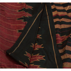 Antique Vintage Indian Painted Saree 100% Pure Silk Craft Fabric Maroon Sari - StompMarket