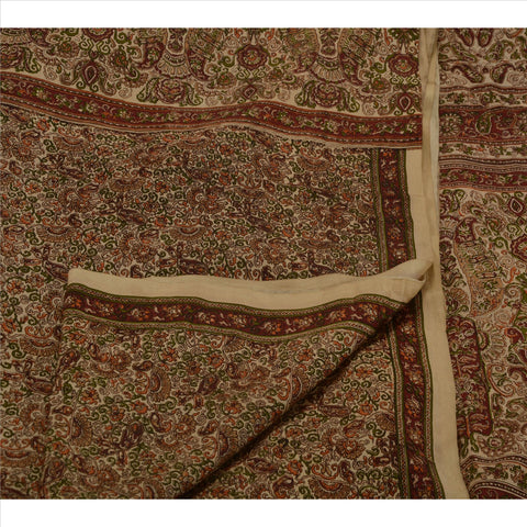 Antique Vintage Indian Printed Saree 100% Pure Silk Craft Fabric Cream Sari
