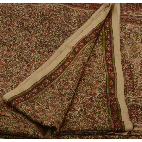 Antique Vintage Indian Printed Saree 100% Pure Silk Craft Fabric Cream Sari - StompMarket