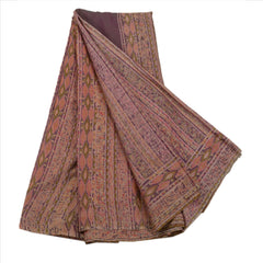 Antique Vintage Abstract Printed Saree 100% Pure Silk Craft Fabric Purple Sari - StompMarket