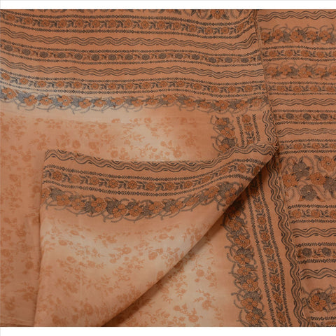 Antique Vintage Floral Printed Saree 100% Pure Silk Craft Fabric Peach Sari