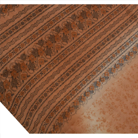 Antique Vintage Floral Printed Saree 100% Pure Silk Craft Fabric Peach Sari - StompMarket