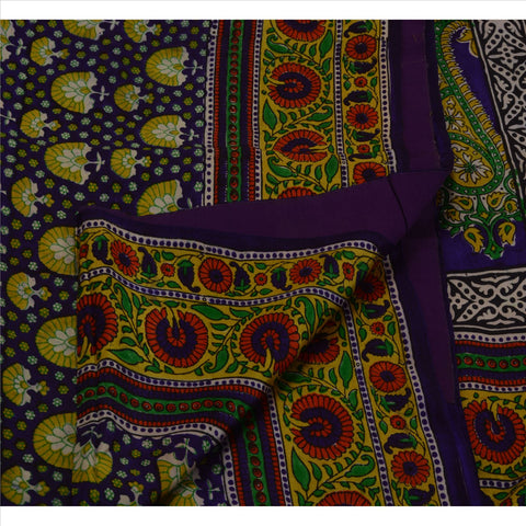 Antique Vintage Paisley Printed Saree 100% Pure Silk Craft Fabric Purple Sari