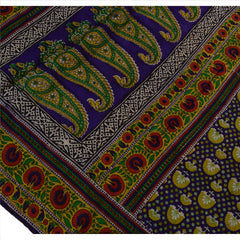 Antique Vintage Paisley Printed Saree 100% Pure Silk Craft Fabric Purple Sari - StompMarket