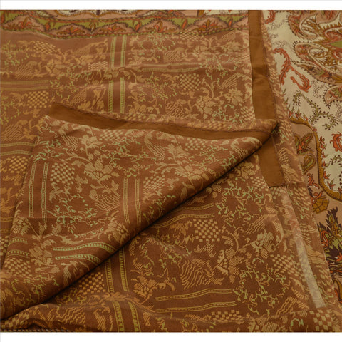 Antique Vintage 100% Pure Silk Saree Cream Floral Printed Sari Craft Fabric