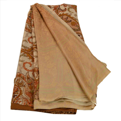 Antique Vintage 100% Pure Silk Saree Cream Floral Printed Sari Craft Fabric - StompMarket