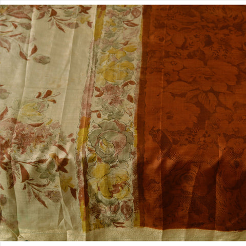 Antique Vintage 100% Pure Silk Saree Dark Saffron Printed Sari Craft Fabric - StompMarket