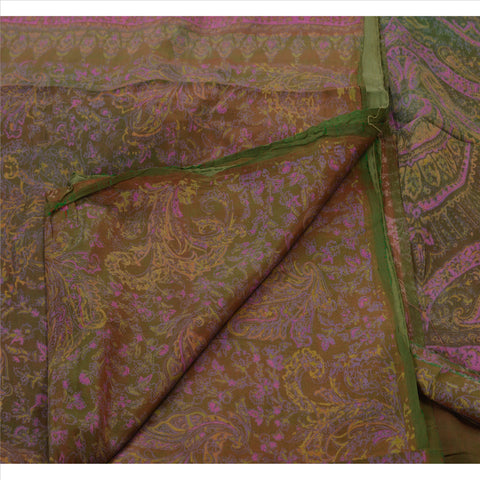Antique Vintage Floral Printed Saree 100% Pure Silk Craft Fabric Brown Sari